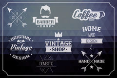 Collection of vintage retro labels, badges, stamps and ribbons Royalty Free Stock Images