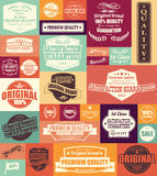 Collection of vintage retro labels, badges, stamps and ribbons. Collection of vintage retro labels, badges, stamps, ribbons, marks and typographic design Stock Images