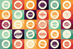 Collection of vintage retro labels, badges, stamps and ribbons Royalty Free Stock Photos