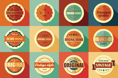 Collection of vintage retro labels, badges, stamps and ribbons. Collection of vintage retro labels, badges, stamps, ribbons, marks and typographic design Stock Photos