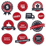 Collection of vintage retro sale labels, badges an Royalty Free Stock Photo
