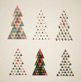 Collection of Vintage retro vector Christmas trees Royalty Free Stock Photography