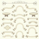 Collection of vintage ribbons. Banner design elements Stock Photo