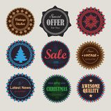 Collection of vintage round badges. Vector illustration Royalty Free Stock Photography