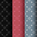 Collection of 3 vintage seamless classic pattern Royalty Free Stock Photography