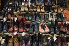 Collection of vintage shoes, Dr. Martens royalty free stock images