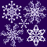 Collection vintage snowflake (vector). Collection isolated vintage white snowflakes on lilas background (vector royalty free illustration