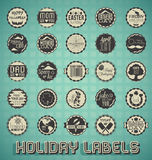Retro Mixed Holiday Labels and Icons. Collection of vintage style mixed holiday labels and icons Royalty Free Stock Photography