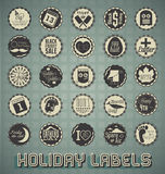 Retro Mixed Holiday Labels and Icons. Collection of vintage style mixed holiday labels and icons Stock Photos