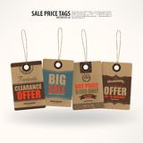 Collection of 4 Vintage Style Price Tags. Stock Photo
