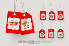 Collection of 8 Vintage Style Price Tags. Stock Photography
