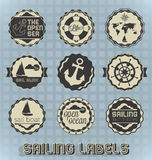 Retro Style Sailing Labels and Icons. Collection of vintage style Sailing Labels and Icons Stock Images