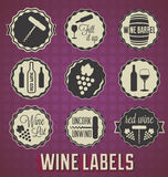 Retro Style Wine Labels and Icons. Collection of vintage style wine labels and badges Stock Image