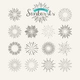 Collection of vintage sunburst design elements Stock Photography