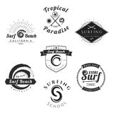 Collection of Vintage Surfing Graphics Stock Image