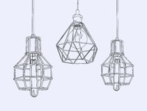 Collection of vintage symbols light bulbs and lamps.Edison light. Bulbs. Hand drawn sketch line art vector Royalty Free Stock Photo