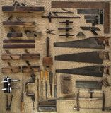 Collection of vintage 18th Century tools for carpenter or joiner Stock Photos