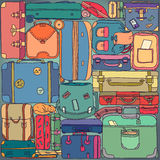 Collection of vintage travel suitcases with Royalty Free Stock Image