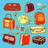 Collection of vintage travel suitcases with Stock Photo