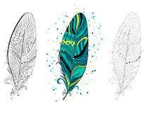 Collection of vintage tribal ethnic hand drawn colorful feathers,  illustration Stock Photography