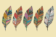 Collection of vintage tribal ethnic hand drawn colorful feathers Royalty Free Stock Photos
