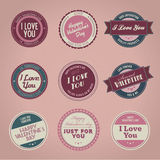 Collection of vintage Valentine\'s day labels Stock Images