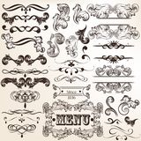 Collection of vintage vector decorative calligraphic elements Royalty Free Stock Image