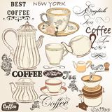 Collection of vintage vector decorative elements tea and coffee Royalty Free Stock Images