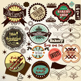 Collection  of vintage vector food labels bakery and sweets Royalty Free Stock Image