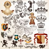 Collection of vintage vector heraldic elements Royalty Free Stock Photography