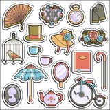 Collection of vintage victorian era stickers Stock Photo