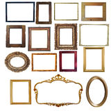 Collection of vintage wooden and golden empty frames isolated on. This image represents Collection of vintage wooden and golden empty frames isolated on white Stock Photography