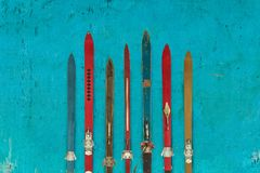 Collection of vintage wooden weathered ski`s Royalty Free Stock Image