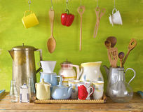 Collection of vintages dishes Stock Image