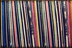 Collection of vinyl records covers (dummy titles). Background, vintage process Stock Image