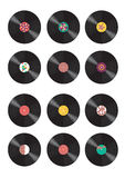 Collection of vinyl records. Vinyl records with different abstract patterns stock illustration