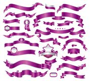 Collection of violet ribbons Stock Photo