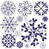 Collection violet snowflakes Stock Images
