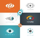 Collection of visual media related logos. stock illustration