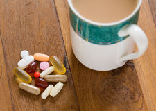 Collection of vitamins and supplements Royalty Free Stock Photos
