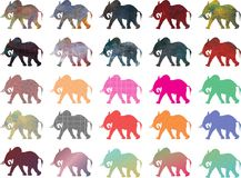 African Elephant Color Silhouettes. Collection of 25 waking elephant silhouettes in various color styles, isolated on white background Stock Photography
