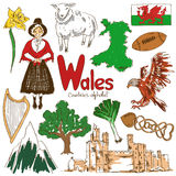 Collection of Wales icons. Fun colorful sketch collection of Wales icons, countries alphabet Stock Photos