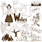 Collection of Wales icons Stock Photography