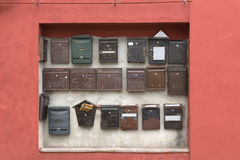 Collection of wall-mounted mail boxes Royalty Free Stock Photography