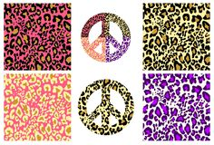 Collection wallpaper and hippie peace symbol with leopard print. Fashion design for t-shirt, bag, poster, scrapbook. Textile royalty free illustration