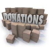 Collection Warehous d'entraînement de charité de boîtes en carton de Word de donations Image libre de droits