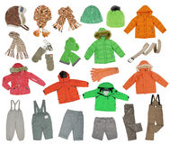 Collection of warm children's clothing. Isolated on white Stock Photography