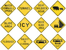 Collection of warning signs used in the USA Royalty Free Stock Photography