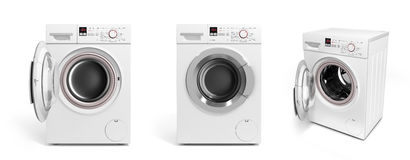 Collection of Washing machine on white background 3D illustratio Stock Photography