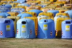Italian bins for the separate collection of paper, plastic, cans. Collection of waste separation bins coloured Royalty Free Stock Photo